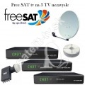 Satelitny komplet na 3 TV s AB cryptobox 600 HD +FreeSAT karta
